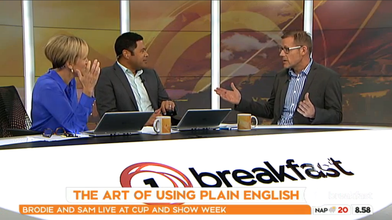 Still image of Simon Hertnon discussing the 2016 Plain English Awards results with Hilary Barry and Daniel Faitaua on Breakfast (8 November 2016).